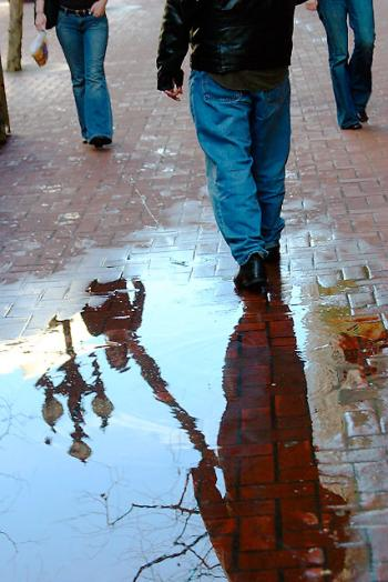 Dennis on puddle, Market Street San Francisco, photo by W. Lam, Feb 2005.